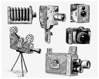 Evolution of the photo, video, film, movie camera from first till now vintage, engraved hand drawn in sketch or wood cut. Style, old looking retro lens Stock Images