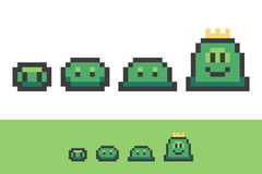 Evolution of pixel slimes from small to king slime. royalty free illustration