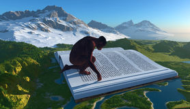 Evolution. Primitive man and the book on the landscape Stock Image
