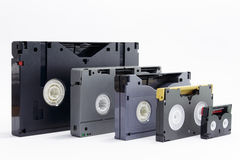 Evolution of professionals video tapes Stock Images