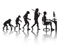 Evolution programmer. Vector silhouette of the evolution of a programmer profession of the future Stock Photo