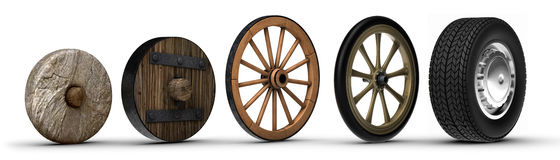 Evolution of Progress. Illustration showing the evolution of the wheel starting from a stone wheel and ending with a steel belted radial tire. Shot on a white Royalty Free Stock Photography