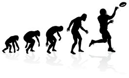 Evolution of the Quarterback. Great illustration of depicting the evolution of a male from ape to man to American Football Quarterback in silhouette Royalty Free Stock Images