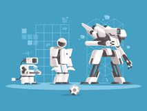 Evolution of robotics. Set robots of various generations. Vector illustration Royalty Free Stock Image