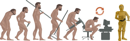 Evolution of Robots Conceptual abstract illustration. stock illustration