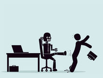 Evolution of robots, struggle for a place at work. Royalty Free Stock Image