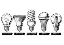 Evolution set of light bulb. Vector hand drawn illustration of the light bulb evolution set. incandescent lightbulb, tungsten halogen, Energy-saving light, LED Royalty Free Stock Photography