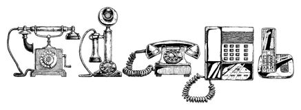 Evolution set of telephone. Vector illustration of the phone evolution set. Set in ink hand drawn style. Typical telephone end of XVIII century, candlestick royalty free illustration
