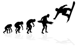Evolution of the Snowboarder Stock Image