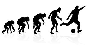 Evolution of a Soccer Player. Illustration of depicting the evolution of a male from ape to man to soccer player in silhouette Stock Photography