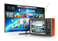 Evolution of television. Creative abstract television evolution and digital multimedia technology and media entertainment concept: old wooden CRT TV with antenna stock illustration