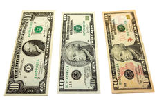 Evolution of ten dollars. Ten-dollar denominations in the course of their development (perfection Stock Photography