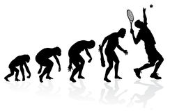 Evolution of a Tennis Player. Illustration of depicting the evolution of a male from ape to man to Tennis player in silhouette Royalty Free Stock Photos