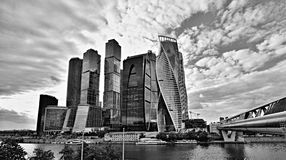 Evolution Tower in Black and White. A black and white photograph of the Evolution Tower and surrounding skyscrapers in Moscow, Russian Federation with no people Stock Photography