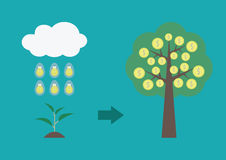 Evolution of tree. The rain of idea make a sprout become to wealth tree, business concept Stock Image