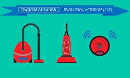Evolution of vacuum cleaners. Modern and robotic vacuum cleaners Royalty Free Stock Images