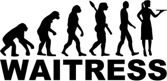 Evolution Waitress with job title Stock Photography