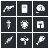 The evolution of weapons icons set. Vector Illustration. Royalty Free Stock Photos