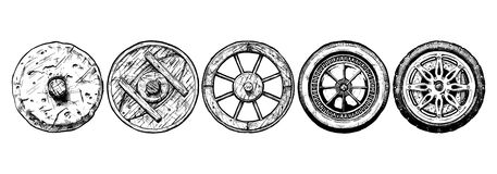 Evolution of the Wheel. Vector hand drawn illustration of the wheel evolution set. Set in ink hand drawn style. stone wheel, antique wooden wheel, spoked wheel Royalty Free Stock Photo