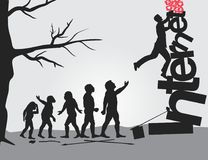 Evolution. The evolutionary impasse of mankind. Vector format Royalty Free Stock Images
