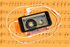 The evolutionary path of musical reproduction, from analog to digital sound or music. Concept royalty free stock images