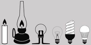 Evolutionbelysninglampa royaltyfri illustrationer