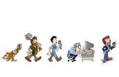 Evolutionen av arbete stock illustrationer