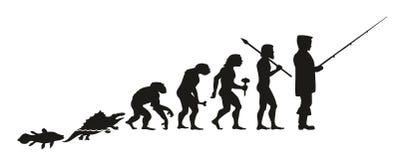 Evolutionen av en fiskare från fisk, till och med annan intermedia stock illustrationer