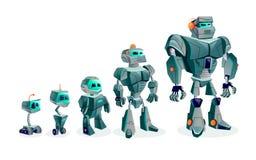 Evoluzione dei robot, progresso tecnologico illustrazione vettoriale