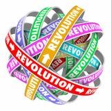Evoluzione dell'innovazione del cambiamento del ciclo di parole di rivoluzione Fotografia Stock