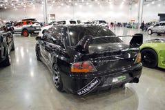 Evoluzione nera VII di Mitsubishi Lancer nell'Expo 2012 del croco Fotografia Stock Libera da Diritti