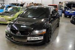 Evoluzione nera VII di Mitsubishi Lancer nell'Expo 2012 del croco Immagini Stock Libere da Diritti