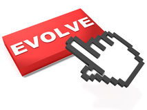 Evolve. Red button white background, and a hand mouse icon trying to click it Royalty Free Stock Image