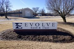 Evolve Bank and Trust Sign, West Memphis, Arkansas. Evolve Bank and Trust provides credit cards, mortgages, commercial banking, auto loans, investing Royalty Free Stock Photography