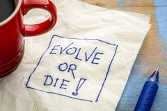 Evolve or die napkin doodle Royalty Free Stock Photography
