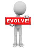 Evolve. Text on a red banner held up by a little 3d man on white background Royalty Free Stock Photo