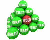 Evolve Vs Iterate Major Change Ball Pyramid. 3d Illustration Stock Photos