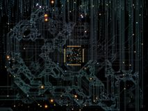 Evolving CPU Realm. Computer Connection series. Backdrop composed of CPU, motherboard traces and digital elements and suitable for use in the projects on stock illustration