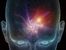 Evolving Mind. Frame of Mind series. Backdrop composed of human face wire-frame and fractal elements and suitable for use in the projects on mind, reason Royalty Free Stock Photo
