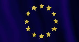 Evolving in the wind flag of the European Union stock footage