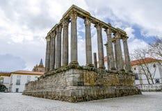 evora葡萄牙 罗马寺庙戴安娜 免版税库存照片