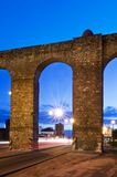 Evora aqueduct by night Royalty Free Stock Photography