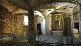 Evora Chapel of Bones. Evora, Portugal - August 18, 2017: Panorama of Chapel of Bones or Capela dos Ossos, one of the most visited monuments of Evora, Portugal stock video