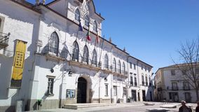 Town hall of Evora in Portugal. Evora, Portugal - Circa March 2019: View at the Town hall square of Evora in Portugal. Evora is a pleasant medium-sized city and stock video footage