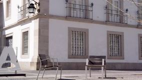 Town hall of Evora in Portugal stock video footage