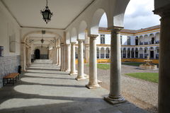 EVORA, PORTUGAL - OCTOBER 11, 2016: The University Antiga Universidade with Arcades and marble columns. The University Antiga Universidade with Arcades and Stock Photography