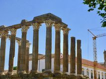 Evora, Portugal, Roman Temple of Evora or Temple of Diana. UNESCO World Heritage Site royalty free stock photography