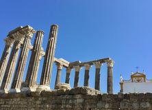 Evora, Portugal, Roman Temple of Evora or Temple of Diana. UNESCO World Heritage Site stock photos
