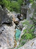Evorsion channel of Soca river, Slovenia Royalty Free Stock Photo