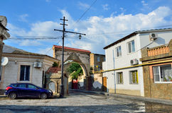 Evpatoria, Crimea, Lipiec, 04, 2016 Nikt, Tuchina ulica w Evpatoria w lecie Fotografia Stock